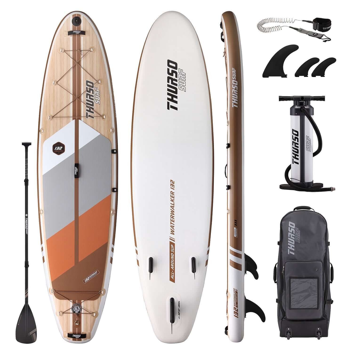 Thurso Surf Waterwalker with leash, fins, pump, backpack, and paddle