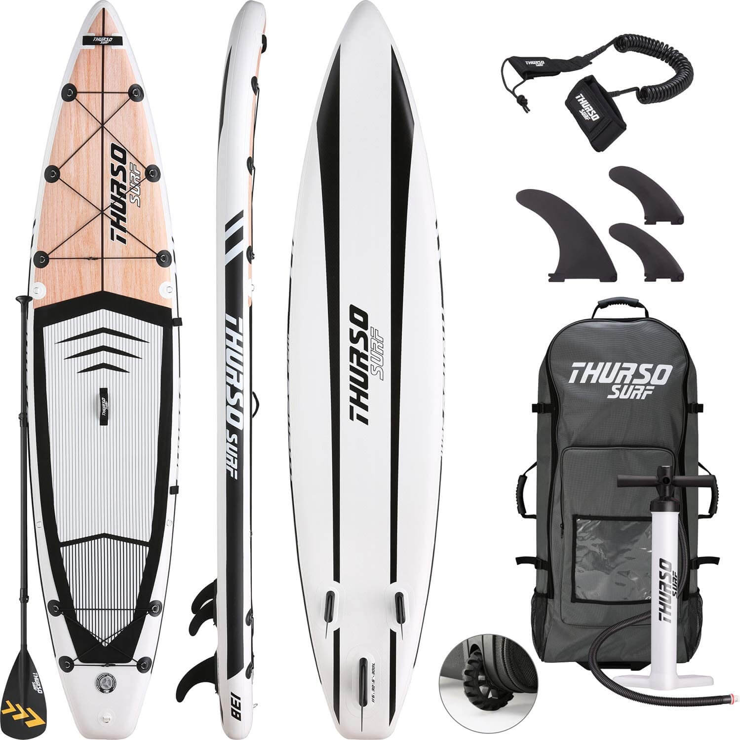 top, bottom, and side view of the thurso surf expedition complete package