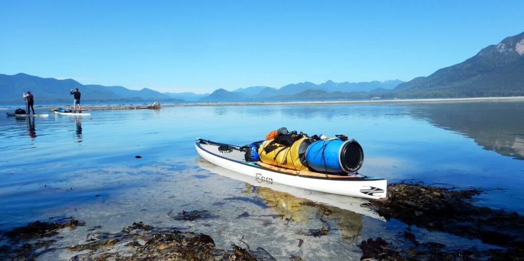 picture of a sup packed with gear for an expedition