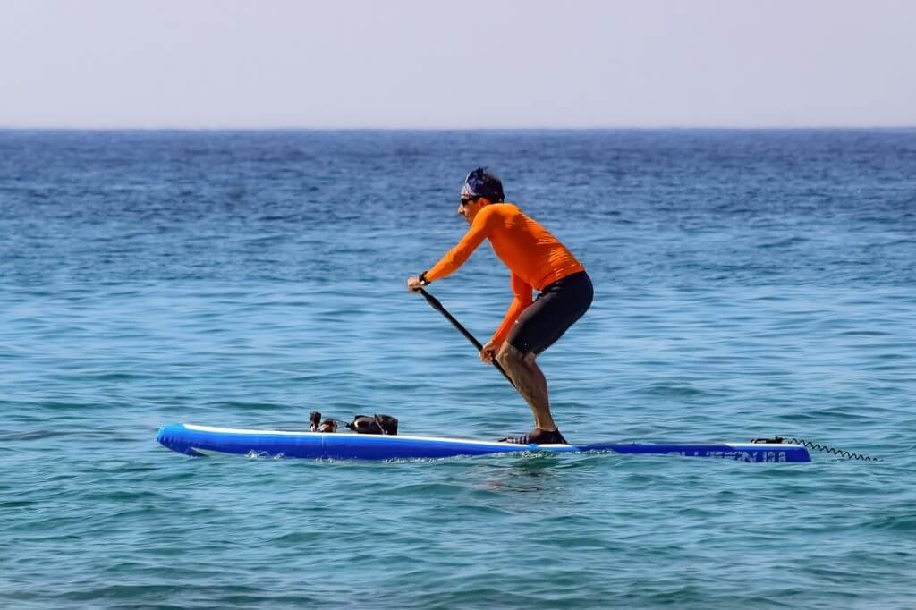 man paddling quickly on a sup