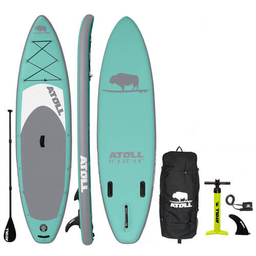 atoll aquamarine isup with backpack and accessories