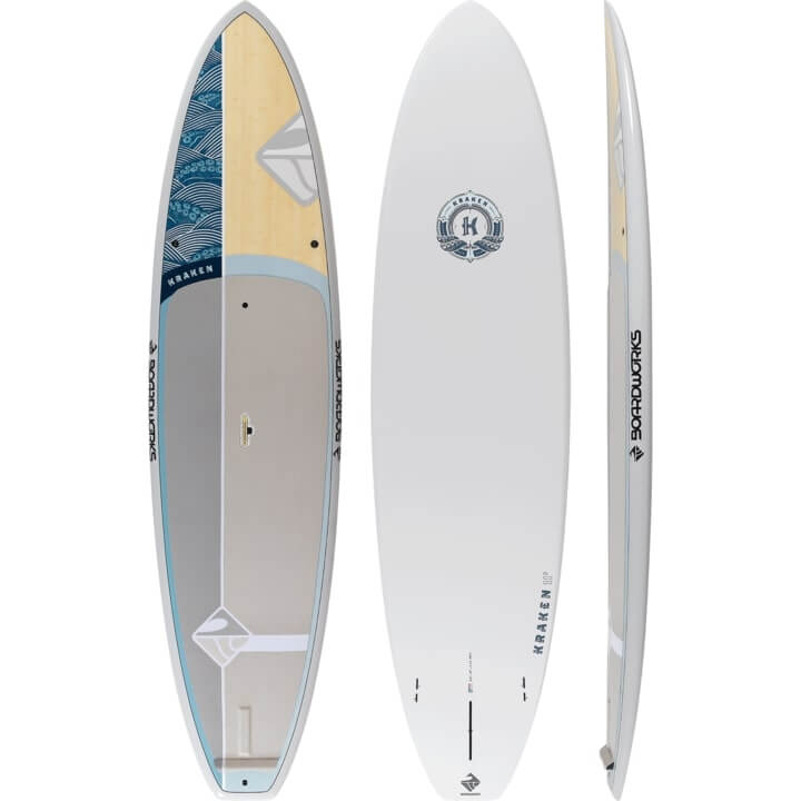 top, bottom, and side view of the kraken sup by boardworks