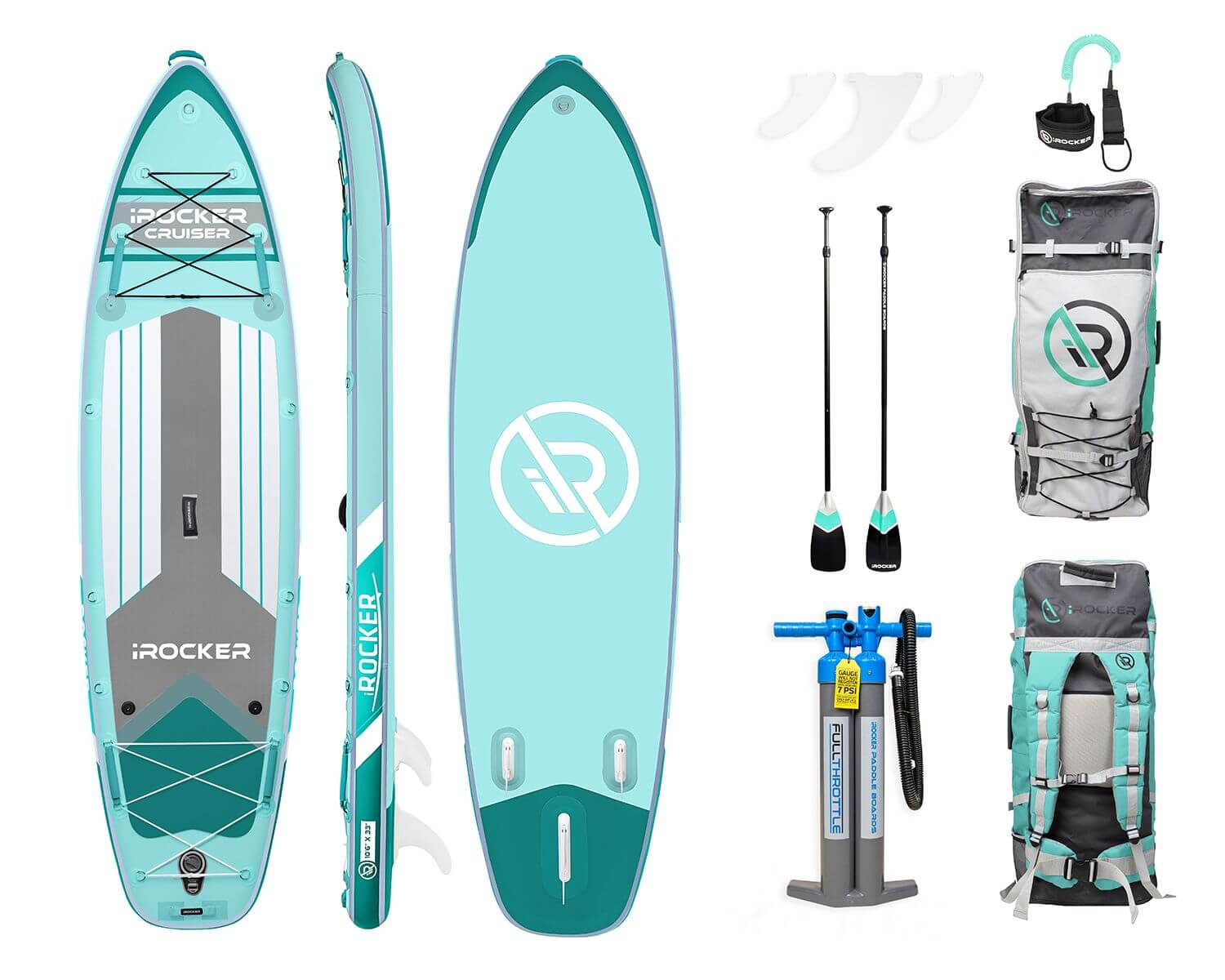 layout of irocker cruiser entire inflatable sup package