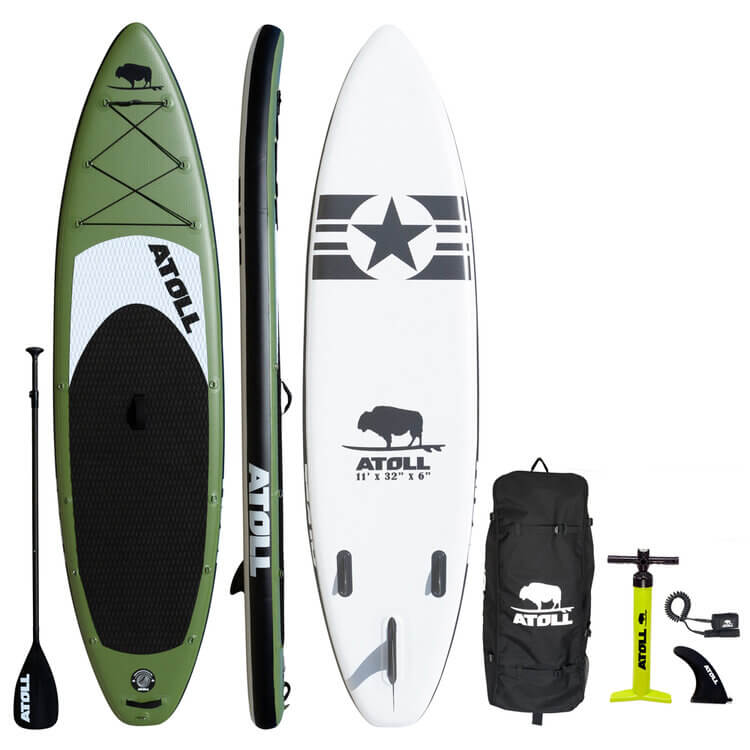 Atoll inflatable stand up paddleboard complete package in army green