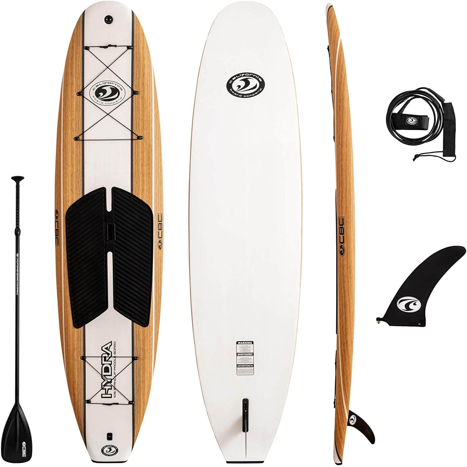 california board company hydra foam sup package with paddle, leash, and fin