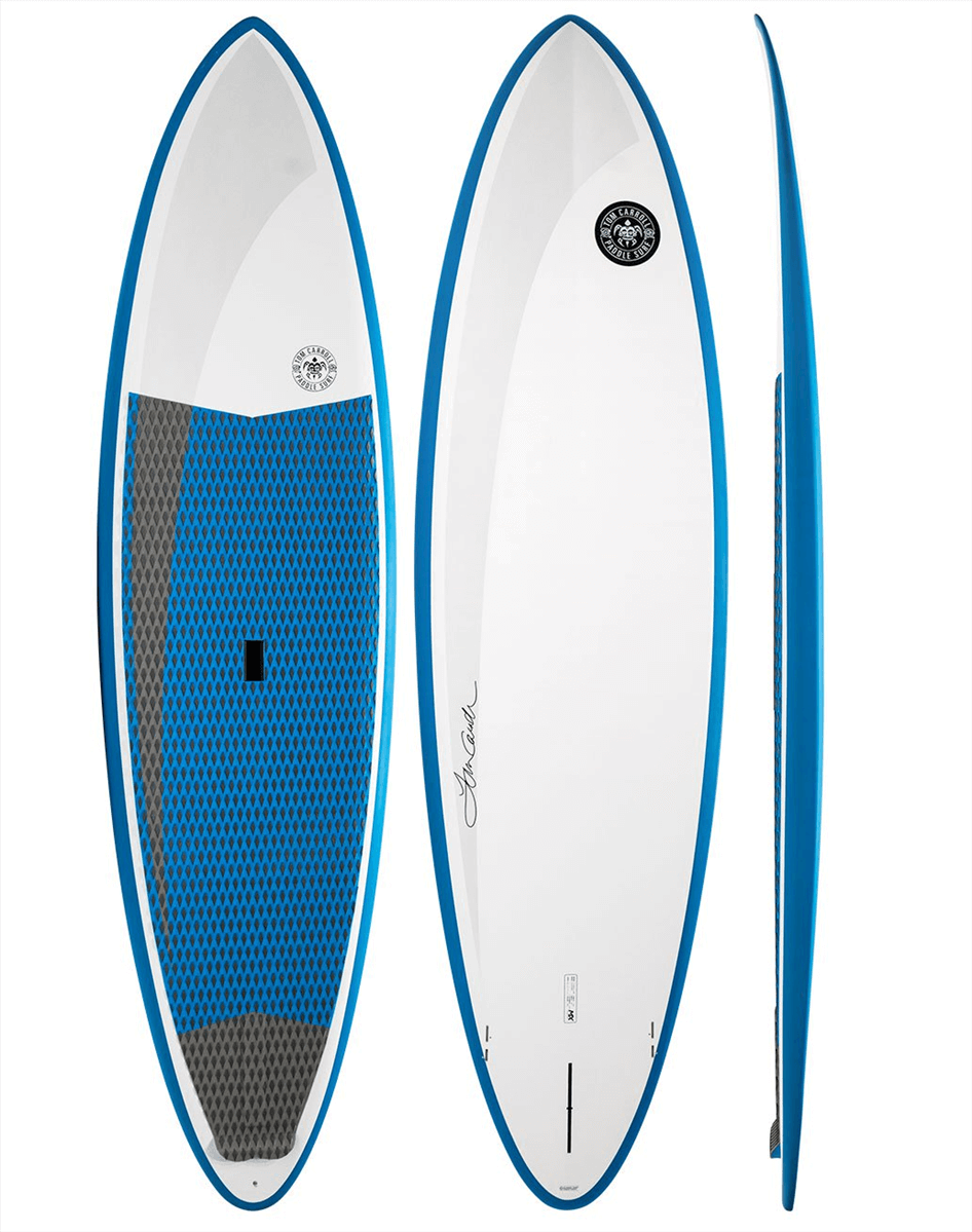 top, bottom, and side view of the tom carroll outer reef mx sup