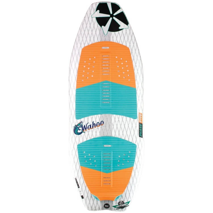 Top view of the Phase Five Wahoo with orange blue deckpad