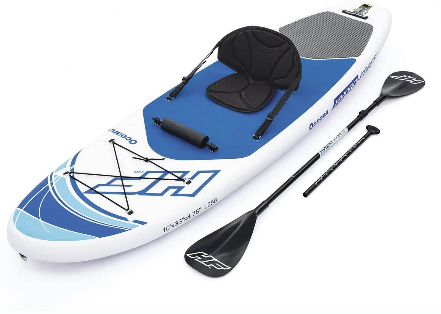 top view of the hydro force sup with kayak seat and paddle
