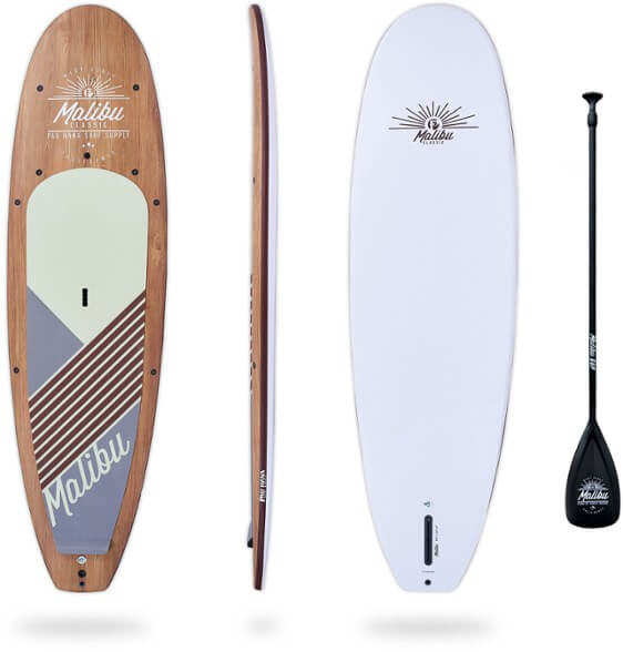 top, bottom, and side view of the pau hana malibu classic with paddle