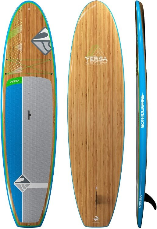 top, bottom, and side view of the boardworks versa sup