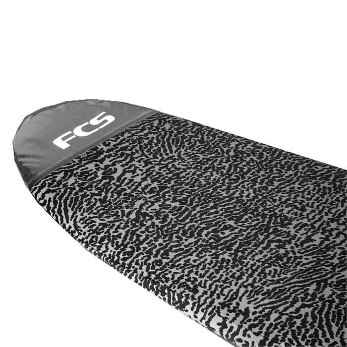 nose image of fcs stretch surfboard bag with logo