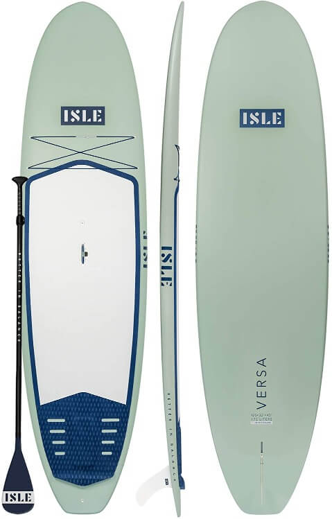 top, side, and bottom of isle versa sup in green with paddle