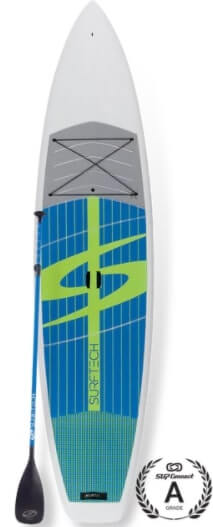 top view of surftech promenade and paddle