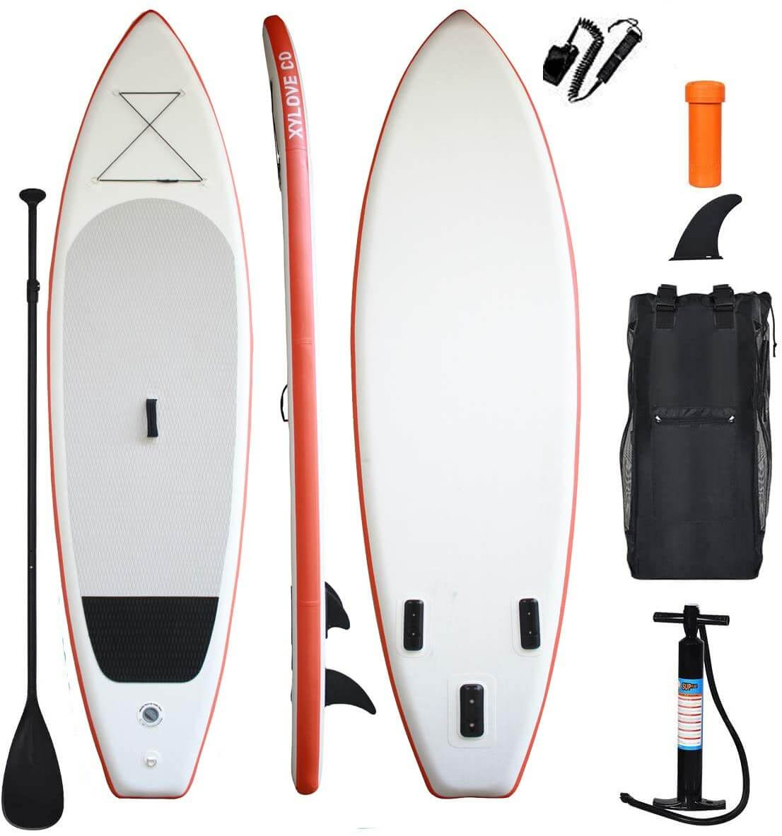 top, bottom, and side view of the xylove co sup with accessories