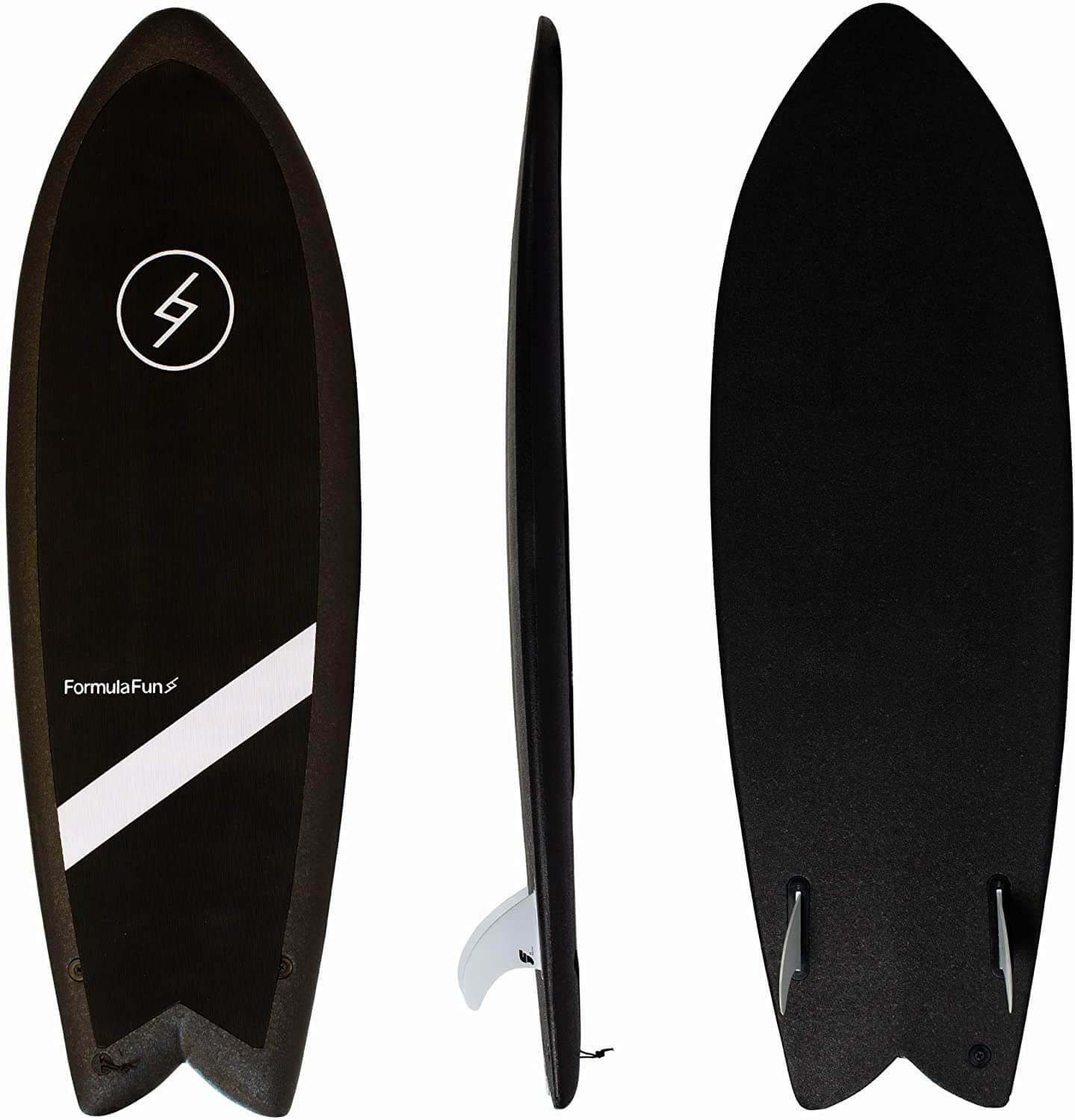top, side, and bottom view of the formula fun fish surfboard
