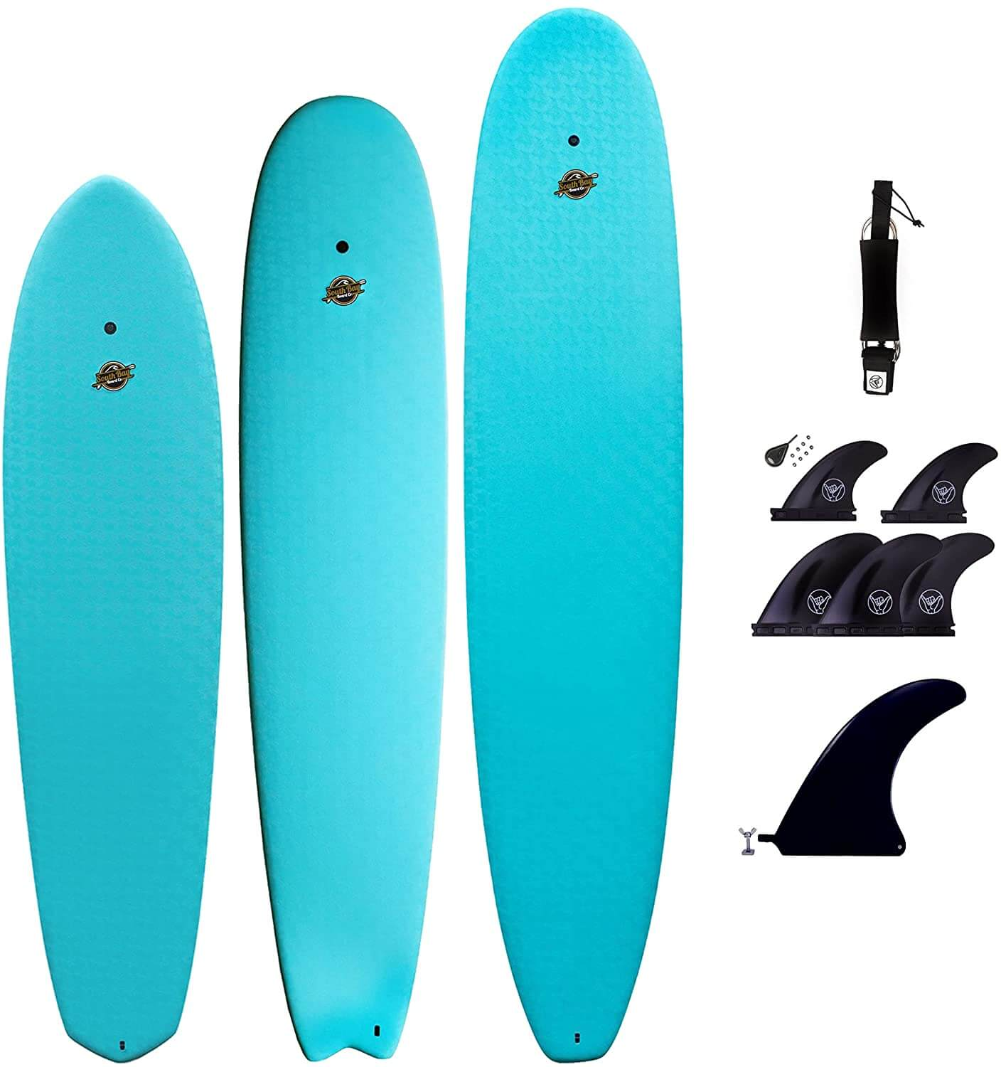 3 surfboards with accessories